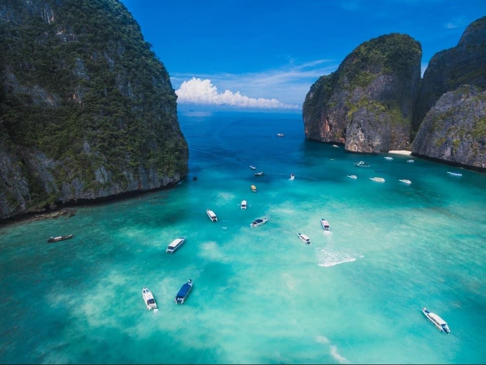 Maya Bay Koh Phi Phi from the air