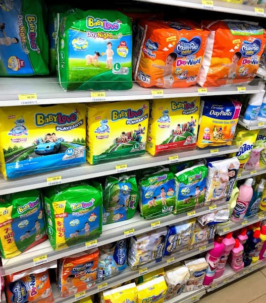 Selection of nappies available in Thailand for a Baby
