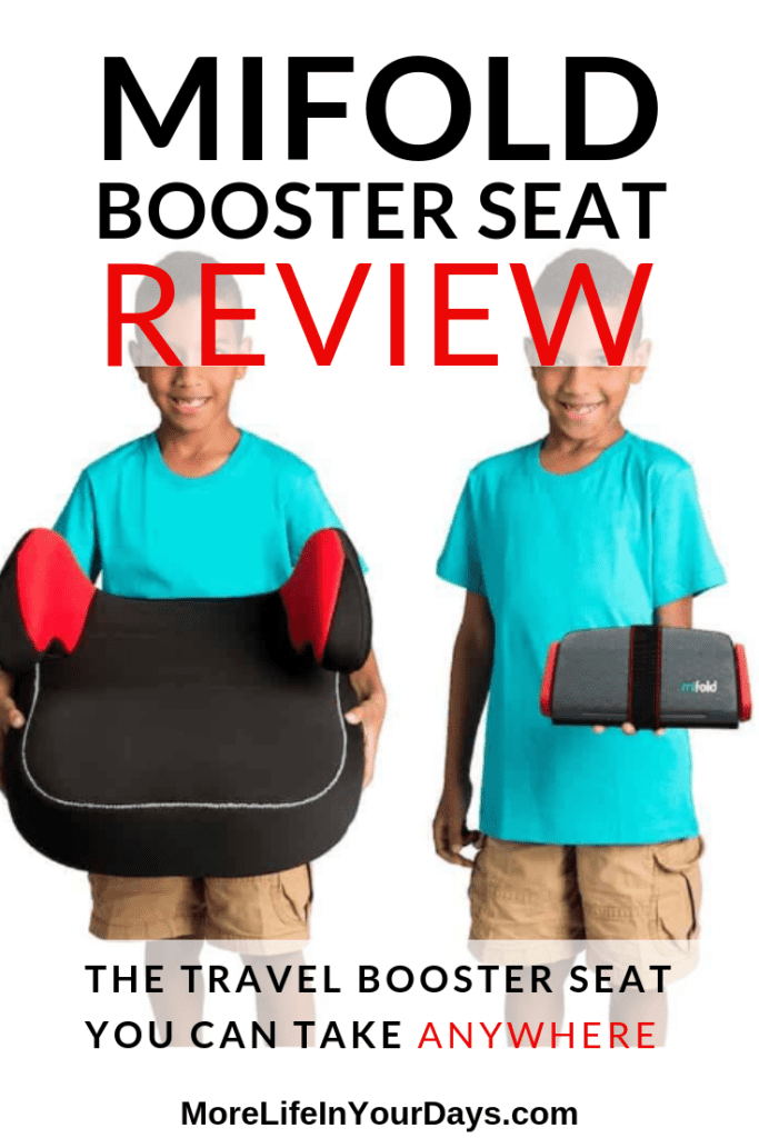 Mifold review image of boy wih normal booster seat and tiny Mifold version