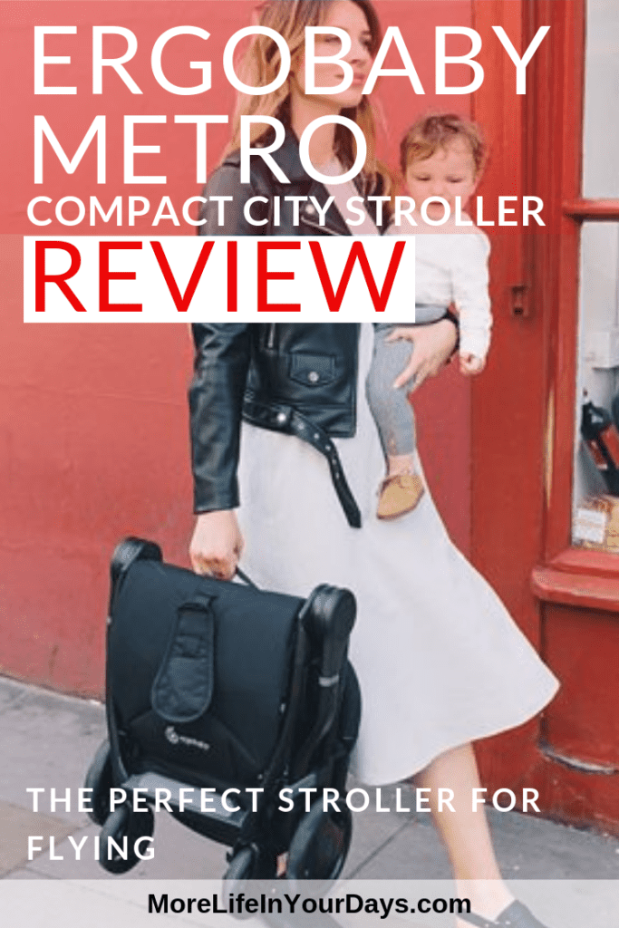 Ergobaby Metro compact stroller review. Woman carrying baby and stroller