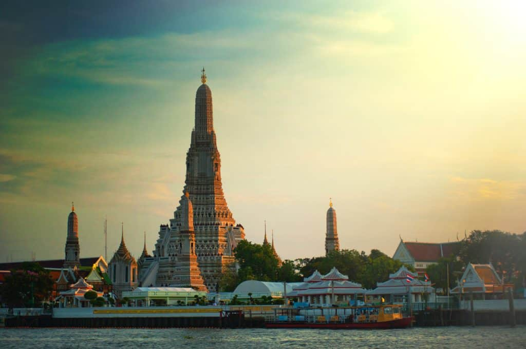 Wat Pho from across the water. one of the first day activities on our Bangkok 4 day itinerary