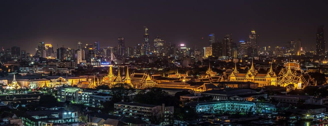 Bangkok Grand Palace aerial view at night, featured image for Bangkok 4 day itinerary