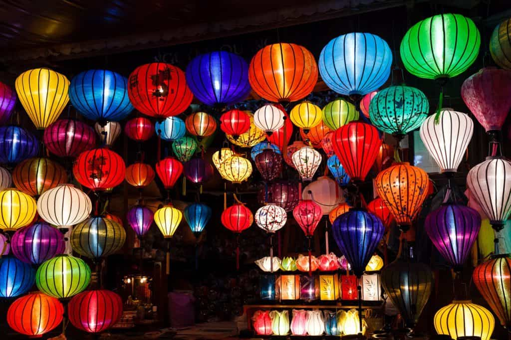 paper lanterns at night. Lantern making is one of the top things to do in hoi an with kids
