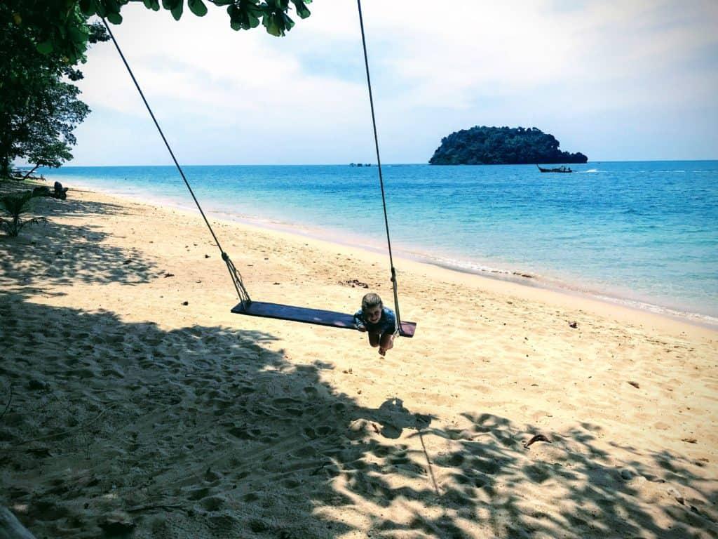 girl on swing in Koh Libong