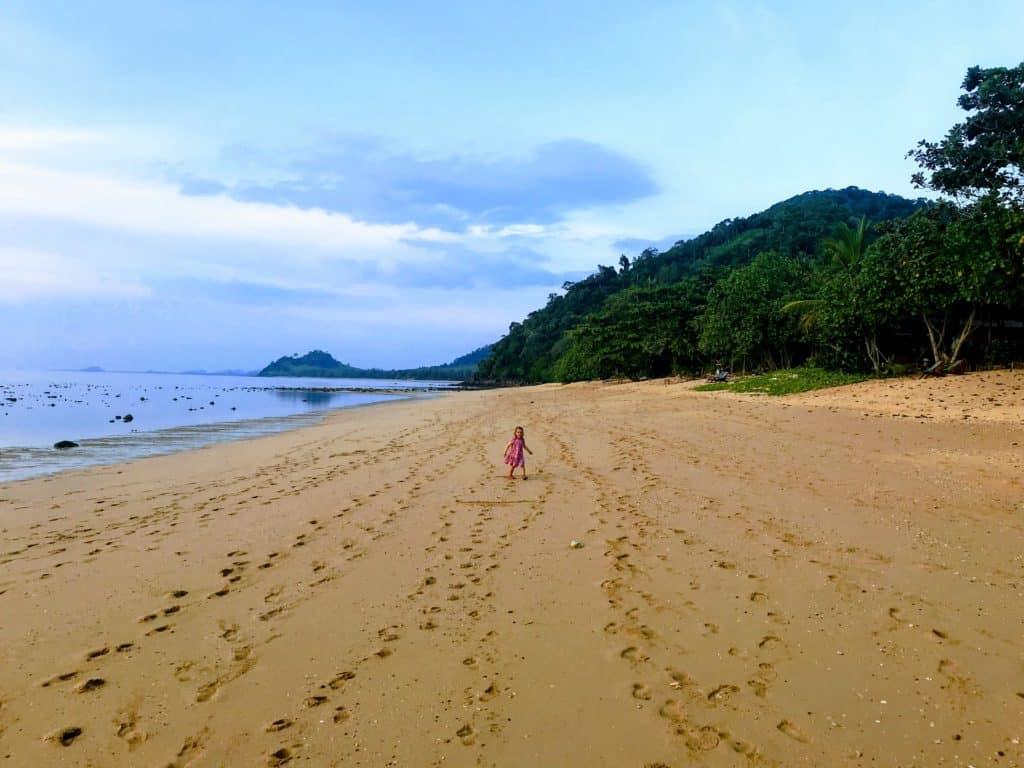 Koh Libong wide beach at low tide