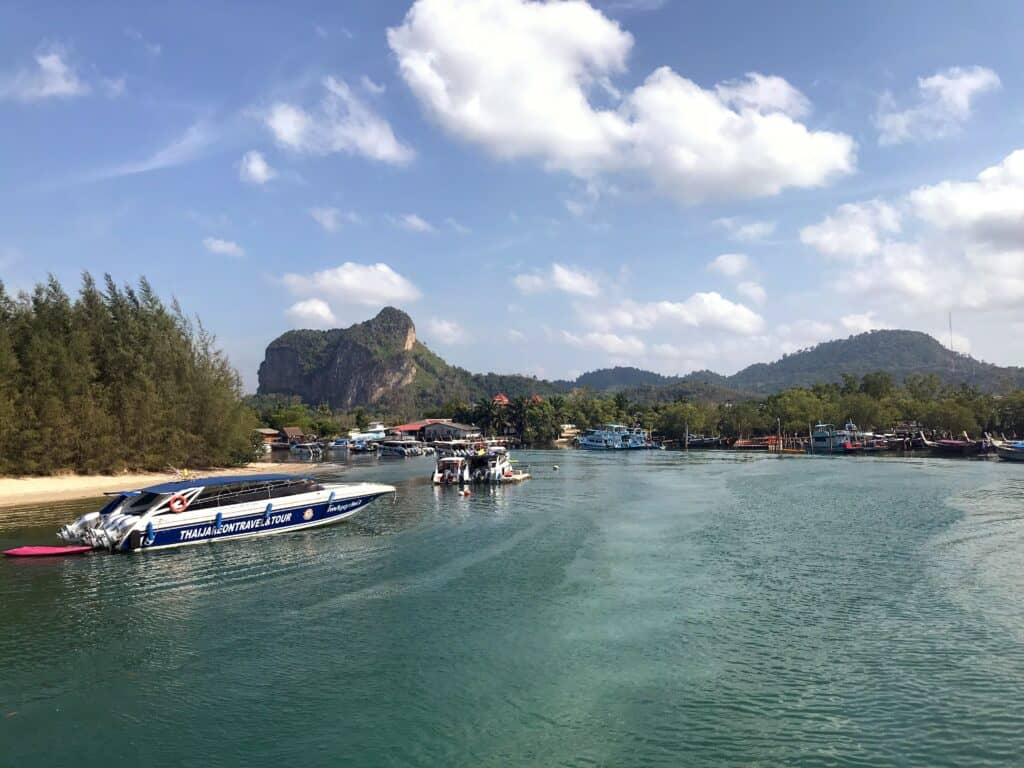 Aon Nang waterfront with boats. Where to Stay in Krabi