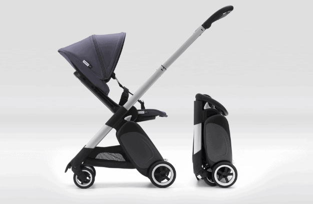 Bugaboo Ant Review- Stroller shown unfolded in parent facing position and folded