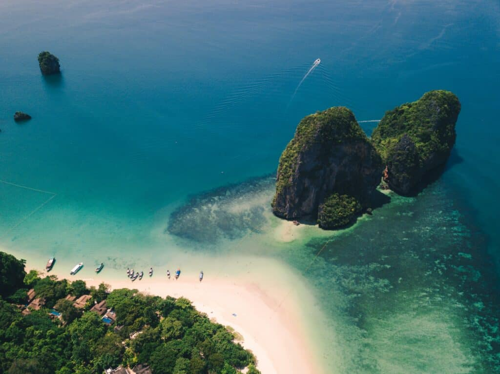 Aerial shot of beach and island. Where to stay in Krabi Thailand.