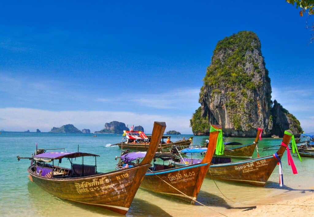 Longtail boats on the beach at Railay. On the way from Krabi to Koh Lanta