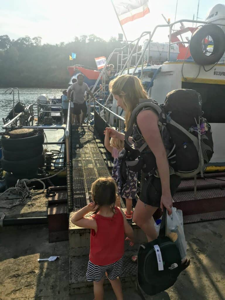 woman and child boarding th eferry from Phuket to Koh Lanta