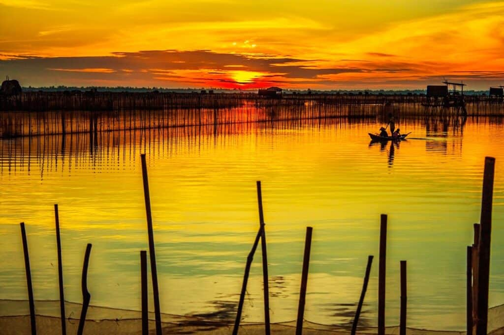 Sunset across a body of water near Hue. Visited on a 10 day Vietnam Itinerary