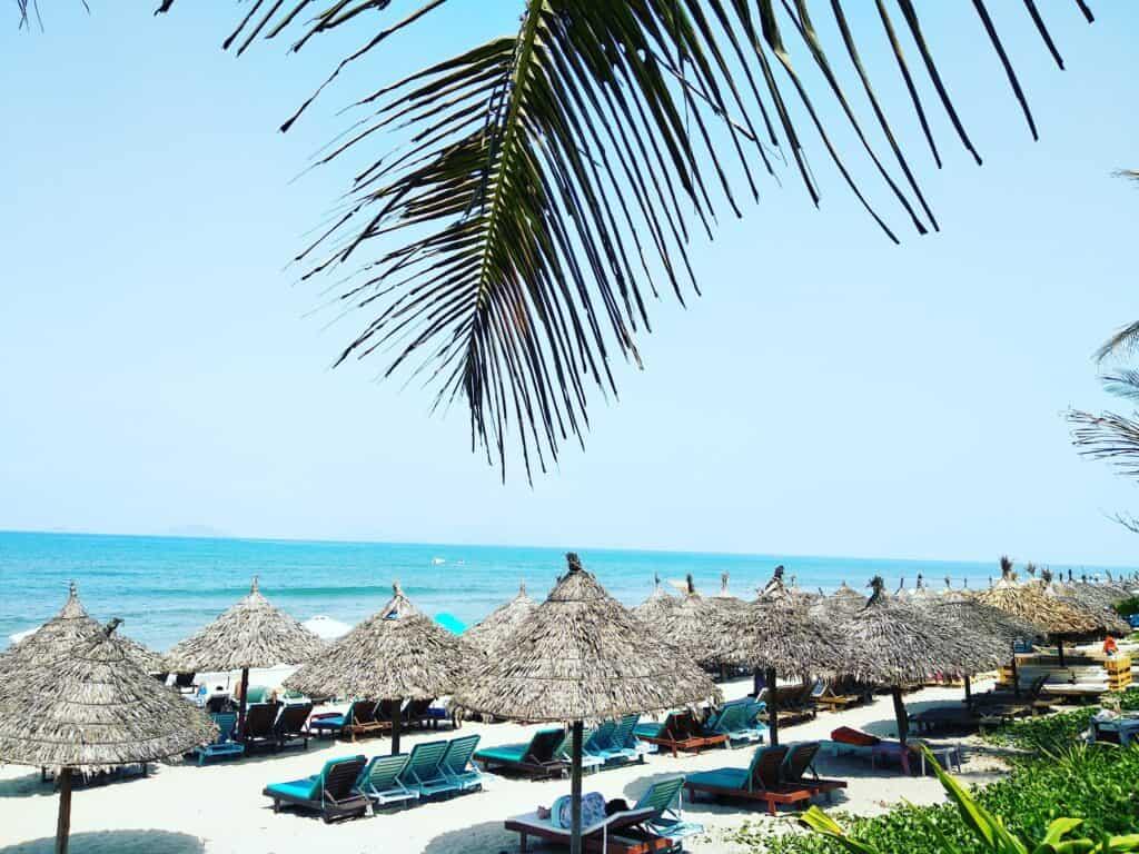 Sunshades on the beach at Hoi An