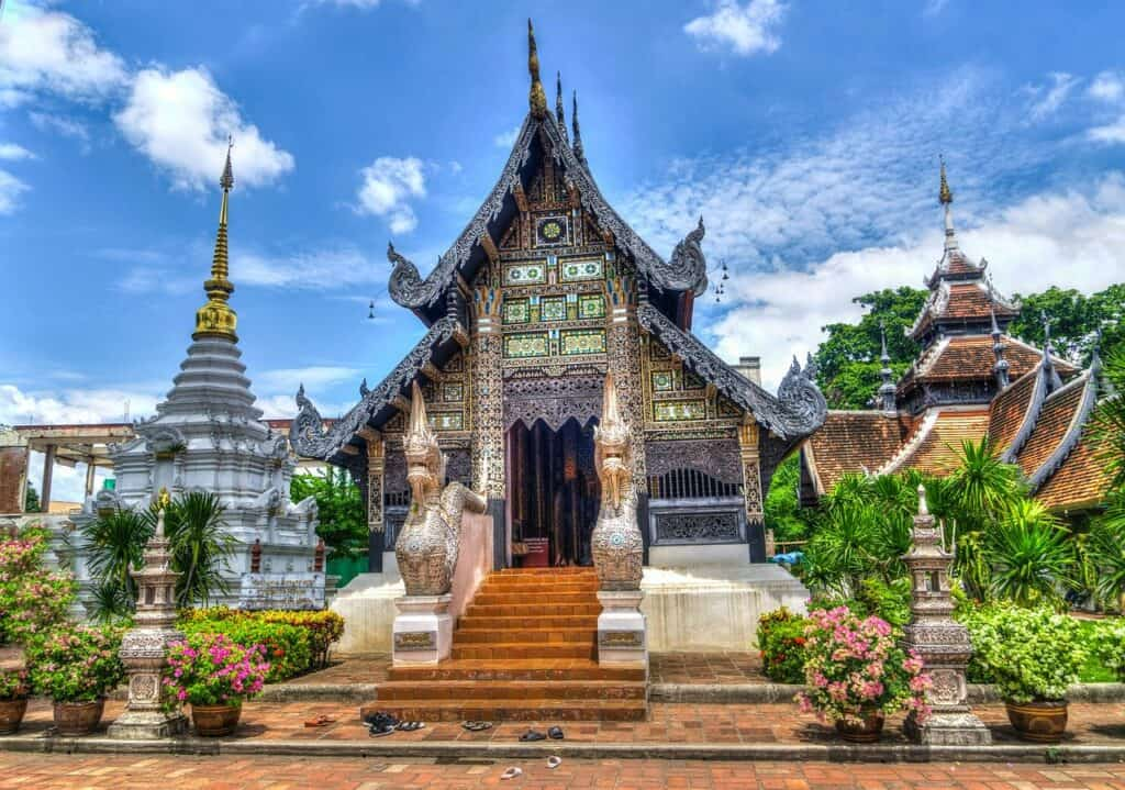 Temple in Chiang Mai against blue sky