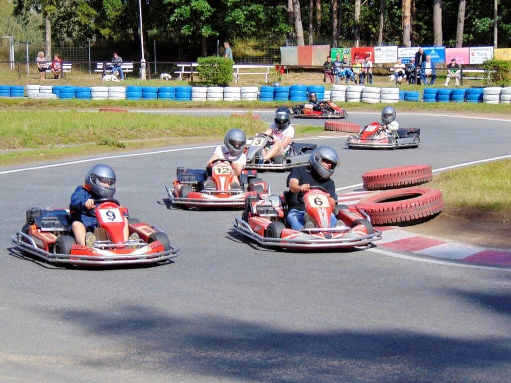 4 go karts racing in Krabi with kids