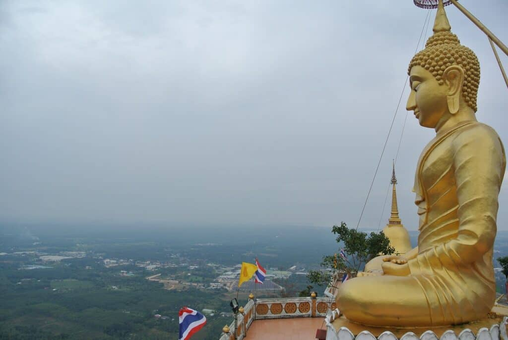 Golden Buddha at the Tiger Cave Temple, Krabi with kids