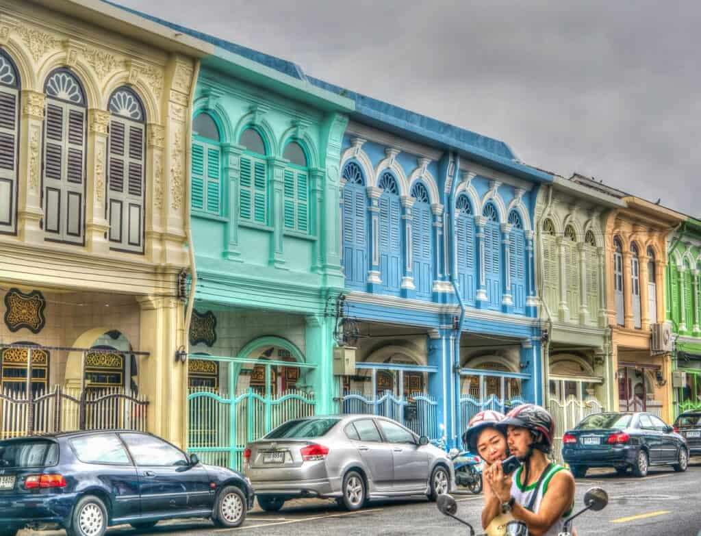 Colourful buildings in Old Town Phuket with Kids