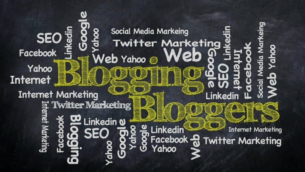 Text on black background with buzzwords on how to start a blog in India